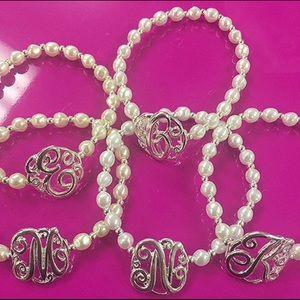 Jewelry - Monogram Script Initial W/ Pearl Bracelet, NWT